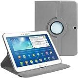 Cover per Samsung Galaxy Tab 3 10.1 (P5200 P5210)- Grigio in Ecopelle con Meccanismo di Rotazione di 360° per Posizionamento Verticale ed Orizzontale del Tablet. Pellicola di Protezione per Schermo e Pennina per Touch Screen Incluse Gratuitamente da Stuff4®