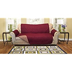 Reversible Furniture Protector Premium - Protects furniture from stains, spills, pets and children accidents (Sofa, Burgundy/Taupe)