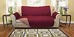 Reversible Furniture Protector with elastic strap. Comes in variation sizes. Choose from Sofa protector, Loveseat protector, and Chair protector. Protect your furniture from stains, spills, pets and children accidents (Sofa, Burgundy/Taupe)