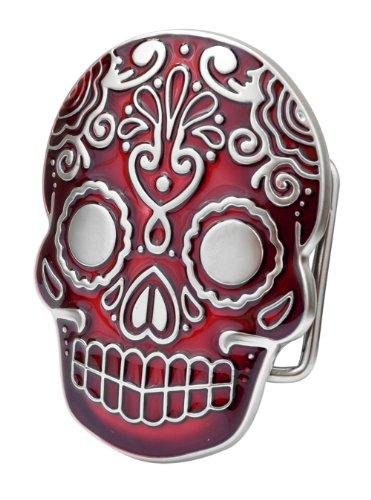 Buckle Rage Adult Unisex Mexican Katrina Dia De Muertos Skull Belt Buckle Red