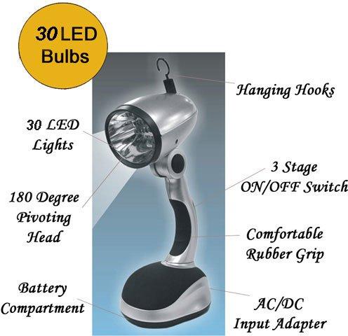 SE FL89030L 30 LED Silver Lamp Light
