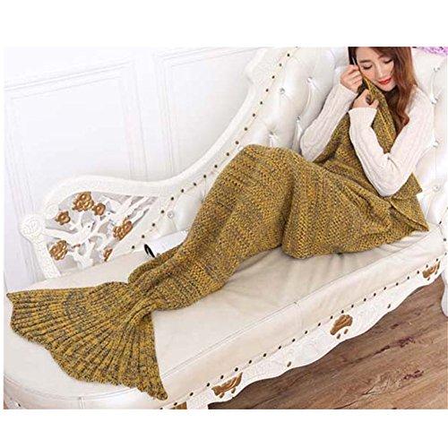 Handgemachte gestrickte Mermaid Schwanz Decke, Sofa Quilt Wohnzimmer Decke Mermaid Decke für Erwachsene, Camping, Geschäftsreise und Reisen perfektes Geschenk, 195cmX90cm (Gelb)