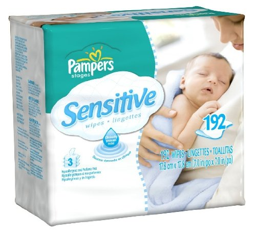Pampers Sensitive Wipes 192 Count, Value Pack of 8