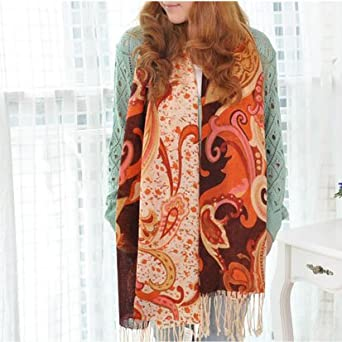 HOTER® New 100% Wool Flower Printing Keep Warm Scarf Shawl Wrap Throw Stole, Gift Idea