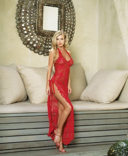 Spanish Rose Lace Long Dress Sexy Lingerie - One Size in Red