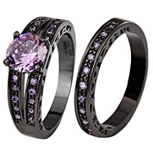 buy Jw Collection Vintage Style Women Black Gold Filled Amethyst Crystal Zircon Bridal Promise Wedding Rings