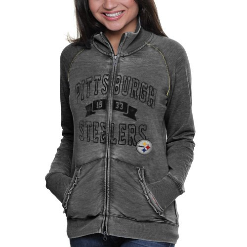 NFL Touch by Alyssa Milano Pittsburgh Steelers Ladies Star Athlete Vintage Slim Fit Track Jacket - Black (Small) at Amazon.com