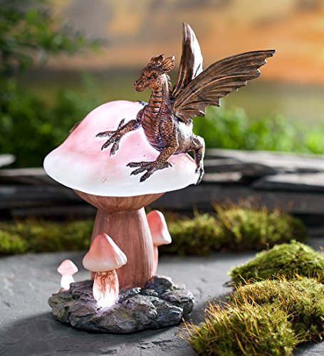 Dragon on LED-Lighted Mushroom Garden Accent