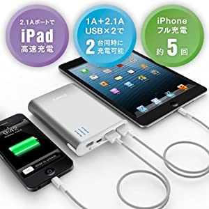 cheero Power Plus 2 10400mAh (シルバー) 大容量モバイルバッテリー 2.1A,1A 2出力ポート 安全設計(過充電/過放電/発熱時/短絡化時 自動停止) 半年保証 マルチデバイス対応 (各種スマホ/iPhone5/iPad/wifiルータ対応)