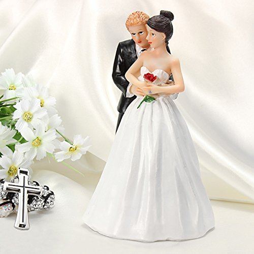 Romantic Rose Bride And Groom Lovely Couple Figurine Cake Topper front-1038189