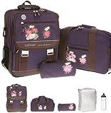 5 Teile SET: ELEPHANT SELECT Schulrucksack + Sporttasche + Mäppchen + Regenüberzug + Trinkflasche | VIOLETTA / Lila Violett mit Flower