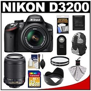 Nikon D3200 Digital SLR Camera & 18-55mm G VR DX AF-S Zoom Lens (Black) with 55-200mm VR Lens + 32GB Card + Backpack + Filters + Remote + Accessory Kit