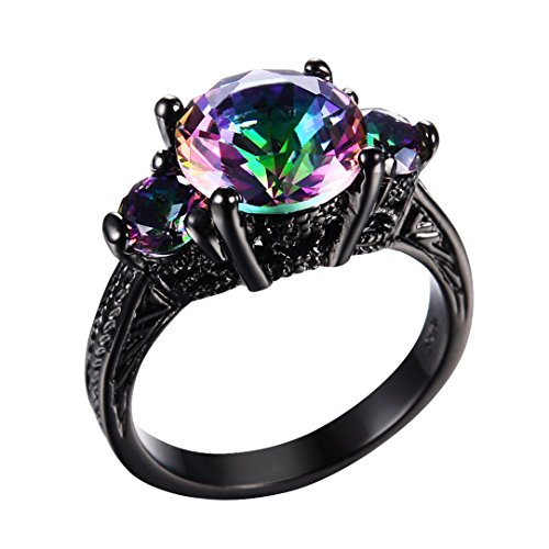 RongXing Jewelry New Mysterious Rainbow Topaz Ring,14KT Black Gold Wedding Rings Sz 8