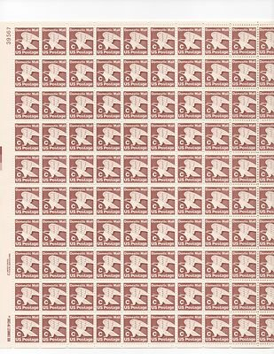 Domestic Mail C Sheet of 100 x 20 Cent US Postage Stamps NEW Scot 1946