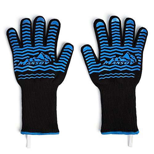 MANSOV Silicone Heat Resistant Oven Grill Gloves Mitts for BBQ Baking Microwave Potholders Oven Grilling Heat Resistant to 662°F One Pair Black and Blue (Small Silicone Oven Mitts compare prices)