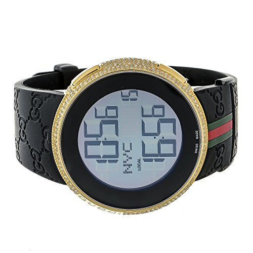 Brand New Mens I Gucci Digital Rubber Band Real 4Ct White Diamond Watch Ya114207