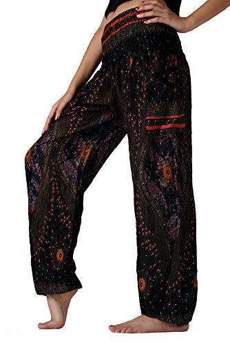 Bangkokpants Women's Yoga Pants Boho Peacock Design Dark Black One Size Fits (Hippie Clothing compare prices)