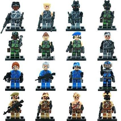 [16 Piece TheArmy Action Figures [Mini Blocks With Weapon SWATSeries] Minifigures Educational Toys DIY Building Blocks Brinks Size] (Katana Dc Costume)