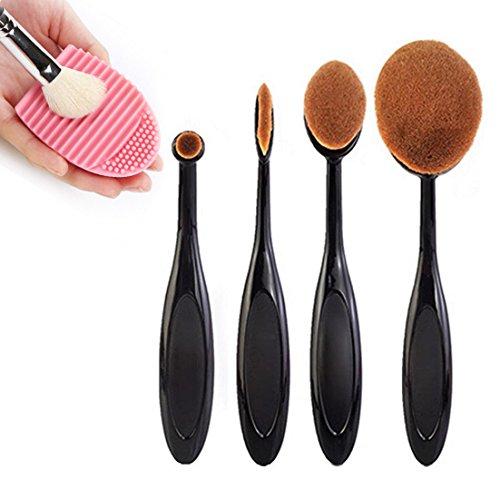 Sunroyal-4 Pcs ladies girls Toothbrush Shaped Face Makeup Cosmetic Brush Foundation Powder Concealer Makeup Powder Brush Set