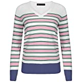 Ladies Ex Marks & Spencer Striped Longline V-Neck Jumper (14, Pink)