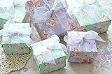 ROSE Gift Box [バレンタインのチョコにも] アンティークローズ ペーパー ギフト ボックス 10個セット (グリーン