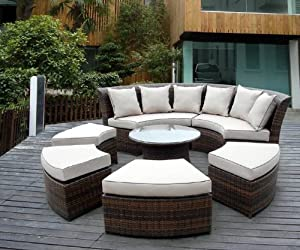 Genuine Ohana Outdoor Patio Wicker Furniture 7pc All Weather Round Couch Set With