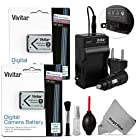 (2 Pack) Vivitar NP-BX1/M8 Battery and Charger Kit for SONY Cybershot DSC-RX100 III DSC-RX100 II RX1 RX1R HX400V HX300 HX50 HX50V WX300 HDR-AS30V AS15 Cameras (SONY NP-BX1/M8 Replacement) - Includes: 2 Vivitar Ultra High Capacity Rechargeable 1400mAH Li-ion Batteries + AC/DC Vivitar Rapid Travel Charger + Cleaning Kit + MagicFiber Microfiber Lens Cleaning Cloth