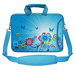 Meffort Inc 15 15.6 inch Blue Color Matching Neoprene Laptop Bag Sleeve with Extra Side Pocket, Soft Carrying Handle & Removable Shoulder Strap - Mini Colorful Flower
