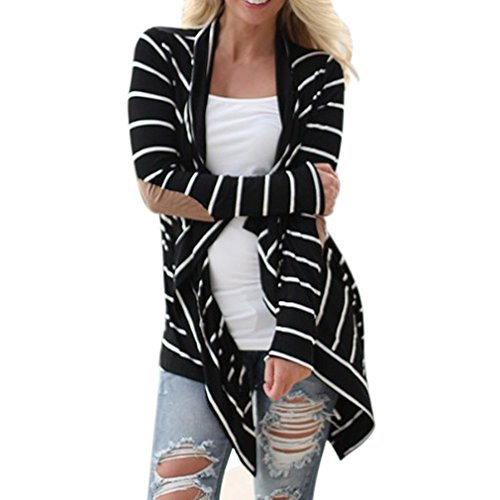 cardigan donne, casuali cardigan a righe a manica lunga patchwork outwear (Nero, XL)