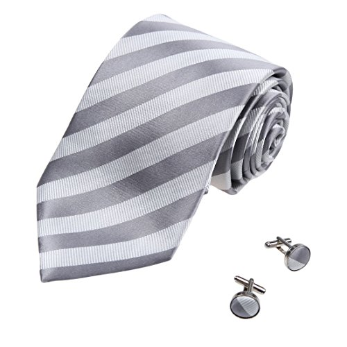 A2109 Beige Stripes Grey Romance Accessories One Size Silk Ties Cufflinks Set 2PT By Y&G