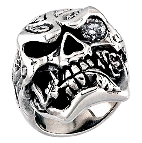 Stainless Steel Skull Ring with cz in one eye and a roze (Available in Sizes 10 to 15) size 14