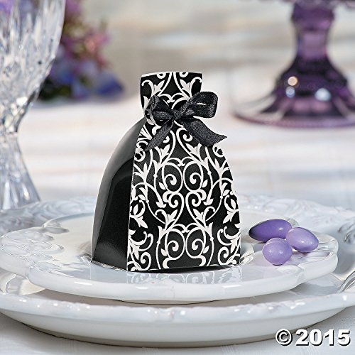 Black and White Dress Wedding Favor Gift Boxes - 12 pc