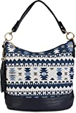 styleBREAKER Tote Bag mit Azteken Muster und Quasten Anhänger, Schultertasche, Umhängetasche, Handtasche, Tasche, Damen 02012102, Farbe:Blau