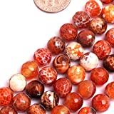 GEM-inside Faceted 8mm Natural Fire Agate Beads Round Gemstone Gem Loose Beads Findings Accessories Strand 15 Inches
