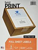 "Full Sheet - Best Print® Address Labels - 8-1/2"" x 11"" (Same size as 5165), 100 Labels"