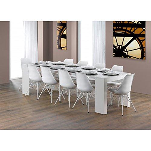 Table de salle à manger coloris blanc en panneau de particules, 270x90x75cm -PEGANE-