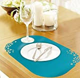 Viva Set of 6 Pcs Floral Border Anti-Skid Bottom Waterproof Flexible Dining Table Kitchen Placemats - Color: Blue