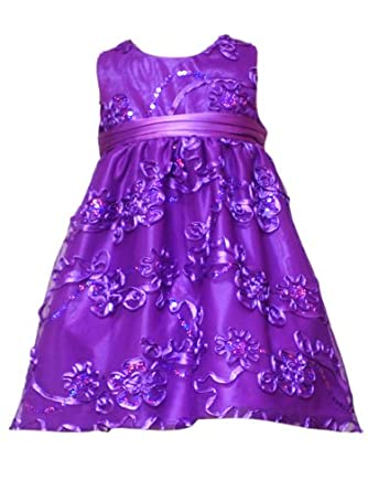 Rare Editions Baby Baby-girls Infant Soutach Dress, Purple, 12 Months