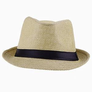 Eozy Mujer Hombre Paja De Lino Playa Sol Panamá Sombrero (#4Marrón)