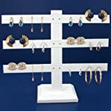 12 Pair White Leather Earring 3 T-Bar Display Stand