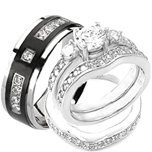 Amazoncom 4 pcs his hers sterling silver titanium for Men and women matching wedding rings