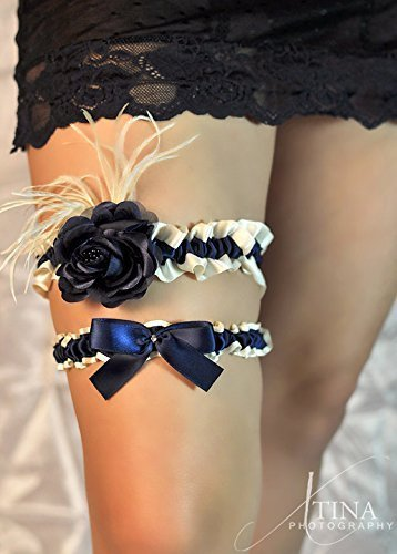 Sexy Elegant Ivory & Navy Blue Satin Rose and Feather Wedding Rhinestone Keepsake Or Garter Set