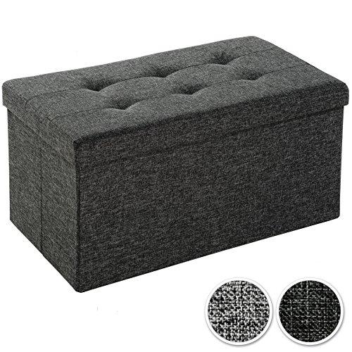 TecTake Pouf pieghevol panca cassapanca contenitore poggiapiedi 76x38x38 - disponibile in diversi colori - (grigio scuro | No. 402235)