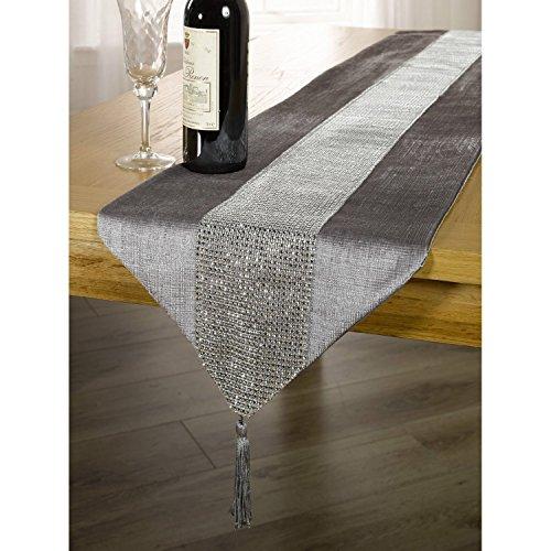 DegGod-Luxus-Samt-stilvolle-atmosphre-minimalistischen-modernen-Diamanten-Tischlufer-Tischdecke-Couchtisch-Tuch-und-zwei-Quasten-32-x-185-cm-Silber