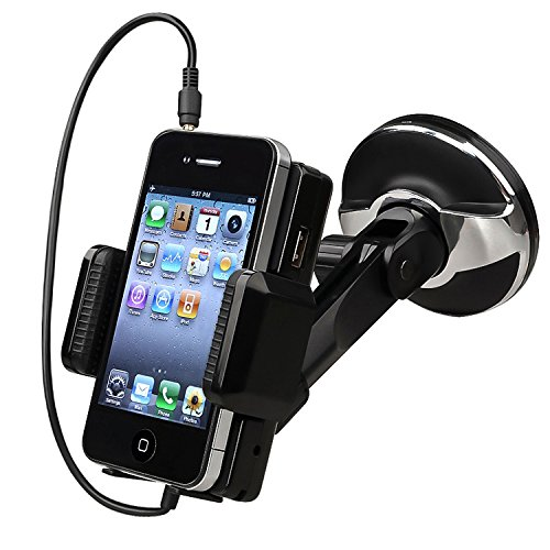 Insten All-In-One Windshield Fm Transmitter For Apple Iphone 4 / 4S - Retail Packaging - Black