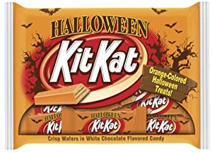 Kit Kat Halloween Snack Size Candy, Crisp Wafers in White Chocolate (Orange Colored), 10.29-Ounce Bags (Pack of 6)