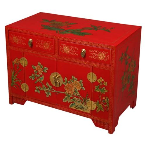 Cheap EXP Handmade Asian Furniture – 24″ Red & Gold Storage Cabinet / End Table W Painted Peony Design (B001JI8U9K)