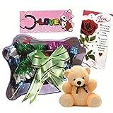 Skylofts Chocolate Butterfly With A Cute Teddy, A Love Card & Love Key Ring