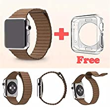 buy Apple Watch Band, 42Mm Genuine Leather Loop With Magnet Lock Strap Replacement Band For Apple Watch 42Mm All Models No Buckle Needed (Leather Loop)+Bonus Clear Flexible Skin Case Included (Brown)