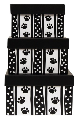 Premier Packaging AMZN-41281 3-Piece Nested Decorative Box Set, Polka Dot Paws